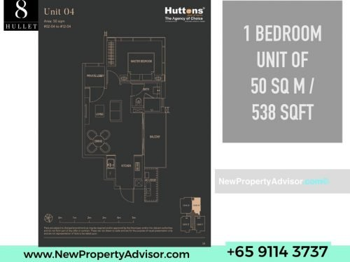 8 Hullet Floor Plan 1 Bedroom 538 sqft