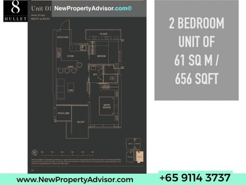 8 Hullet Floor Plan 2 Bedroom 656 sqft