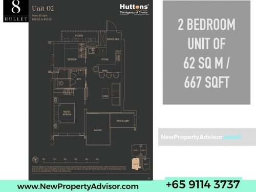 8 Hullet Floor Plan 2 Bedroom 667 sqft