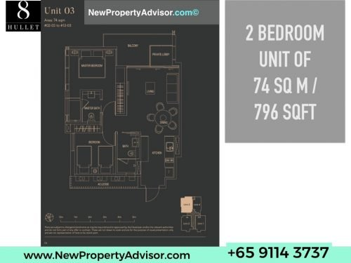 8 Hullet Floor Plan 2 Bedroom 796 sqft