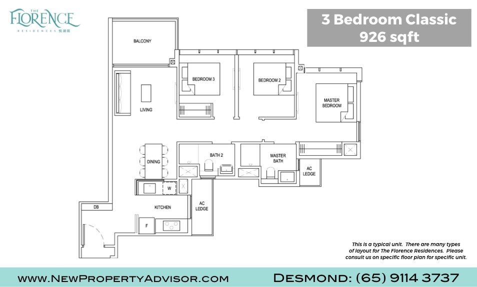 Florence Residences Singapore Floor Plan Three Bedroom Classic