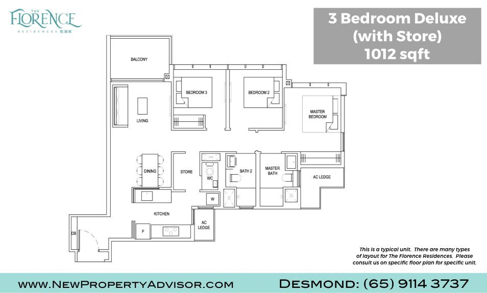 Florence Residences Singapore Floor Plan Three Bedroom Deluxe