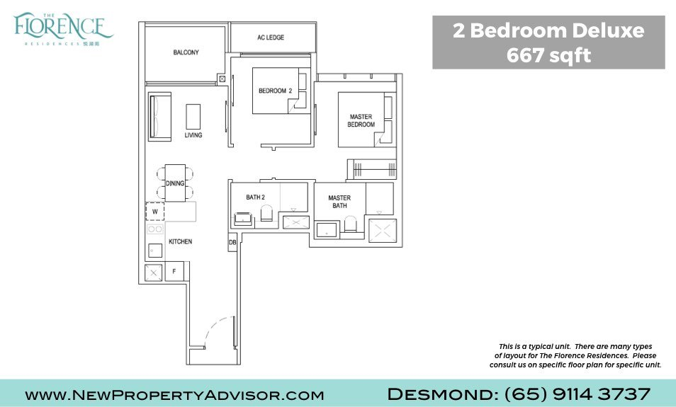 Florence Residences Singapore Floor Plan Two Bedroom Deluxe