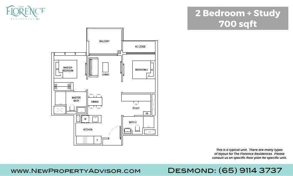 Florence Residences Singapore Floor Plan Two Bedroom and Study