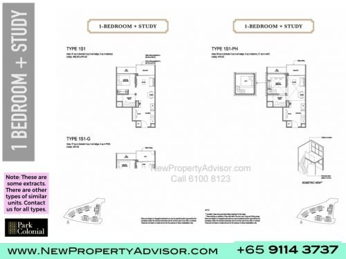 Park Colonial Floor Plan 1 bedroom plus study
