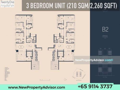 TwentyOne Angullia Park 3 bedroom floor plan B2